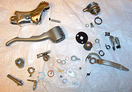 Shimano 600 shifter disassembled, photo by Jim McVey