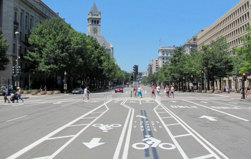 Bike lanes at 9th St. NW, July 3, 2010