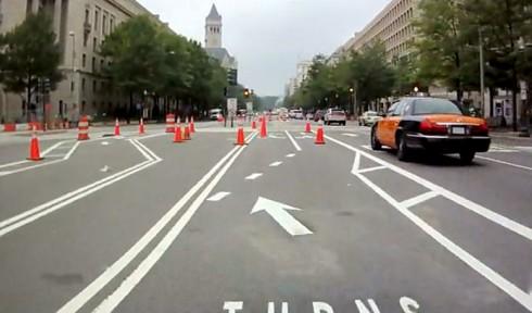 Bike lanes at 9th St. NW, mid-May, 2010
