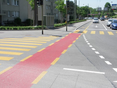 Bike lane in conflict zone, Winterthur, Switzerland. Photo by James Mackay