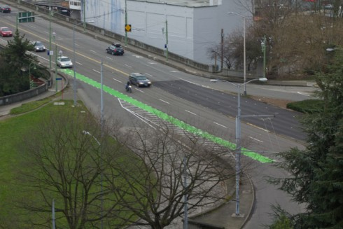 Green bike lane in Seattle, Washington