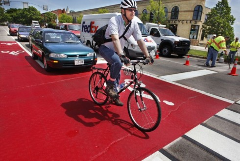 Red-painted bike box in Madison, Wisconsin. Madison Star-Intelligencer photo.