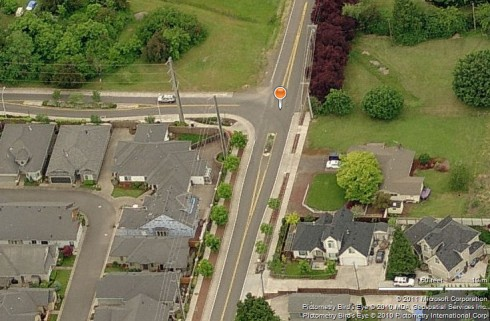 Microsoft Bing view of Gilham Road at Ayers Road, Eugene, Oregon