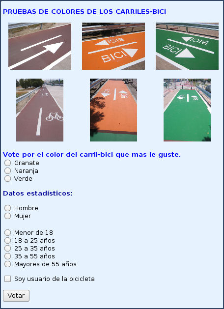 City of Seville, Spain poll for citizens to choose bikeway color