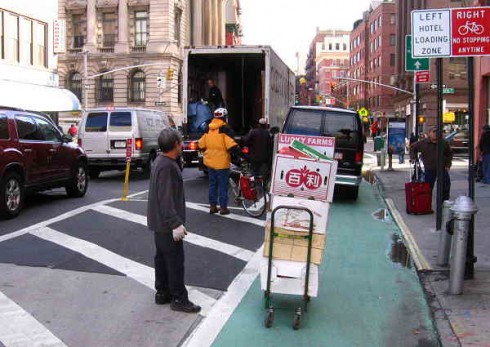 Trucks blocking the Grand Street bikeway