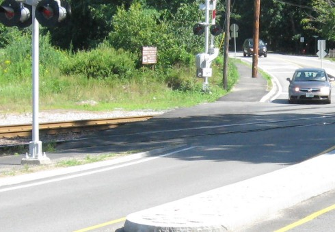 Sidewalk crossing looking from the west