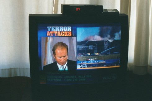 Televison news coverage of the September 11 attack on the Pentagon.