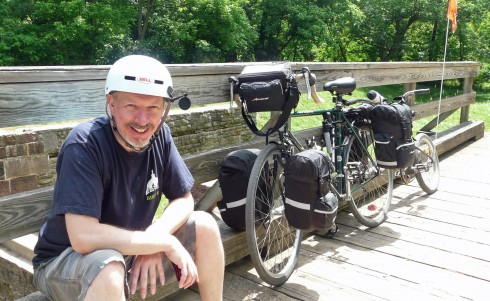 Ian Cooper with Trail-a-Bike rig on the C&O towpath trail