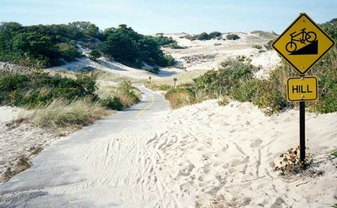 Descent and sand on the Province Lands path in the Cape Cod National Seashore, Massachusetts
