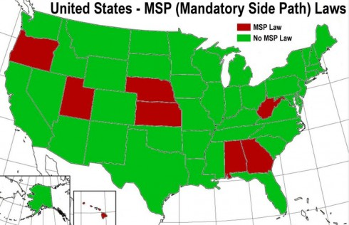 States with mandatory sidepath laws are shown in red in Dan Gutierrez's map