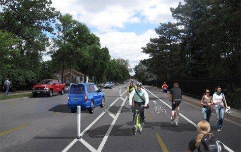 "Photoshopped illustration of proposed ""cycle track"" on 36th Street in Minneapolis"
