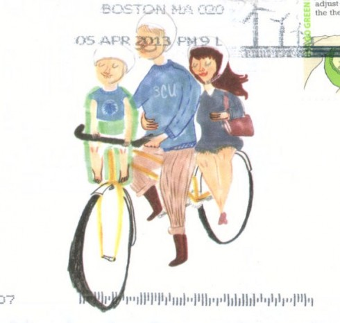 Boston cyclist Union picture of happy family.