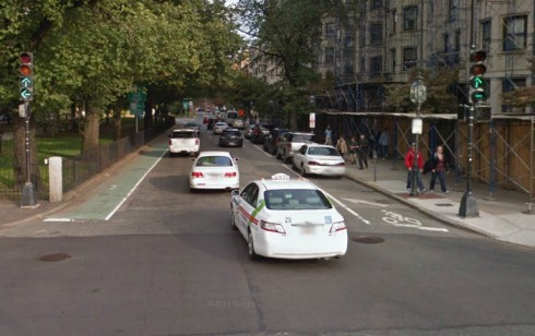 Looking across Charlesgate East. The Desperation Aroow is visible at the right side of the roadway. (Google Street View)