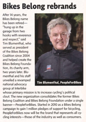 Article from November 1, 2013 Bicycle Retailer and Insudtry News