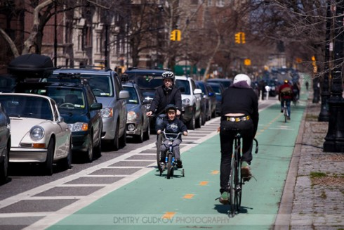 Prospect Park West with child on tricycle