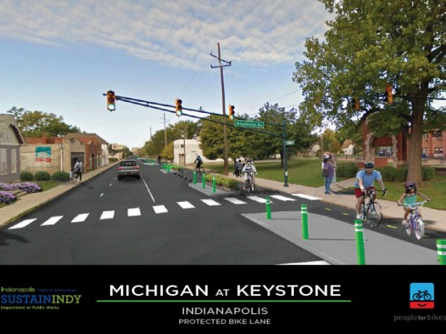 Photoshop drawing of proposed Indianaplis bikeway
