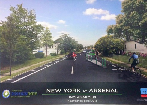 New York Street at Arsenal -- proposed treatment