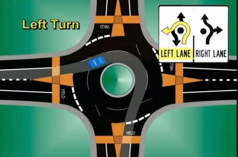 Path for left-turning traffic in a roundabout