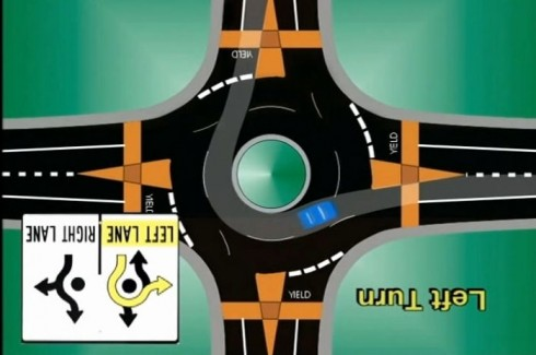 traffic in a roundabout, image rotated 180 degrees