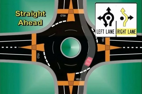 Path for through traffic in a roundabout